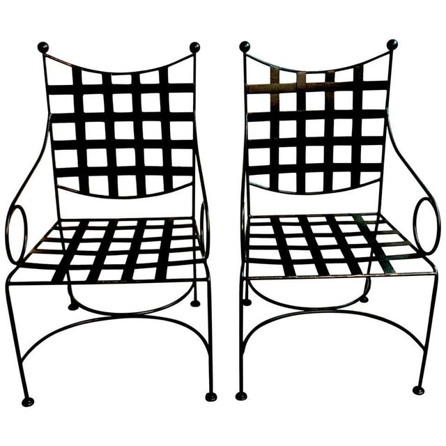 Metal Salterini Style Woven Wrought Iron Patio Armchairs - a Pair For Sale - Image 7 of 7