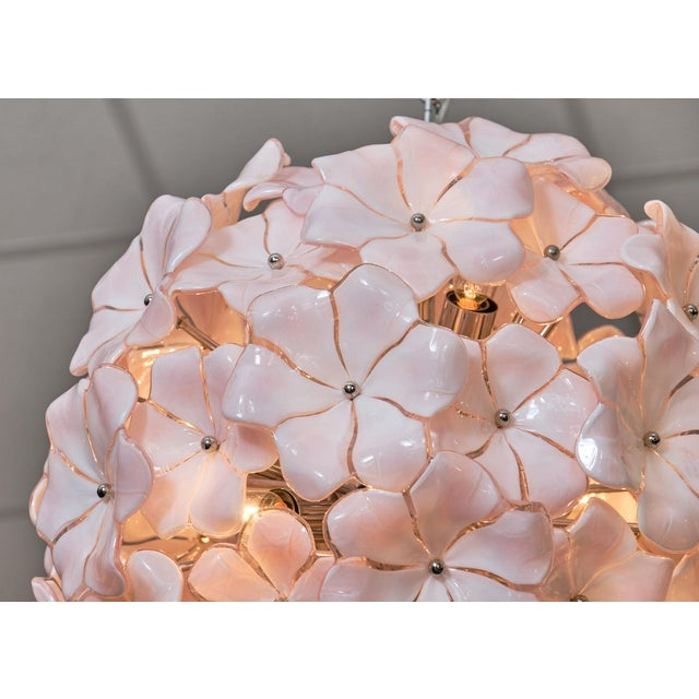 White Murano Glass Pink Flower Chandelier by Cenedese For Sale - Image 8 of 10