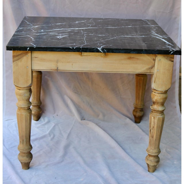 Late 20th Century French Farm Table With Black Marble Top For Sale In Charlotte - Image 6 of 6
