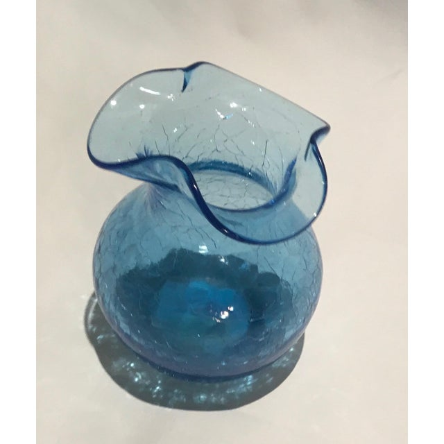Vintage Rainbow Glass Co Vase In Hand Blown Blue Crackle Glass