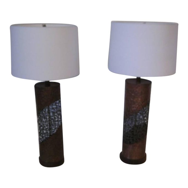 Fantoni Brutalist Torch Cut Lamps for Raymor - a pair For Sale
