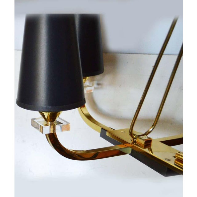 Mid-Century Modern 1960s Jacques Adnet 6-Light Chandelier For Sale - Image 3 of 5