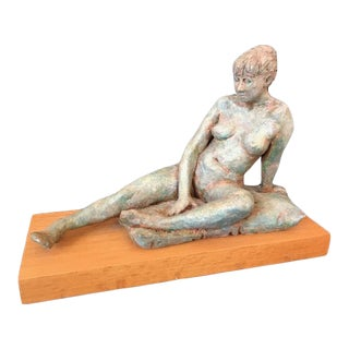 "1990s ""Anna"" Figurative Nude Woman Reclining Clay Sculpture For Sale"