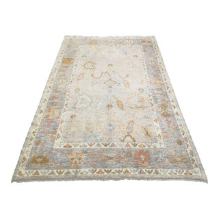 Contemporary Floral Turkish Oushak Area Rug For Sale