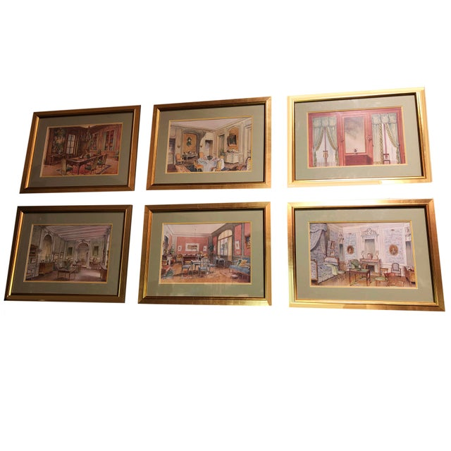 Blush Antique French Interiors Decor Prints - Set of Six For Sale - Image 8 of 8