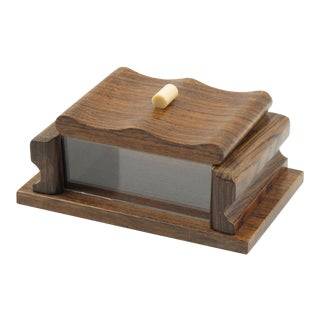 French 1950s Rosewood and Lucite Box For Sale