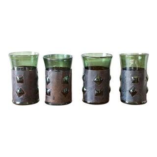 Mid-Century Brutalist Glass Tumblers by Felipe Derflinger - Set of 4 For Sale