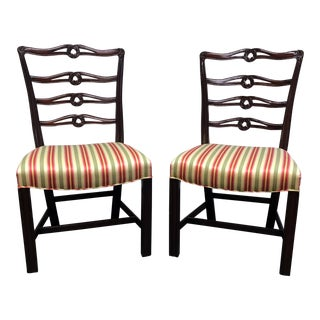 Vintage Mahogany Chippendale Ribbon Back Dining Side Chairs - a Pair
