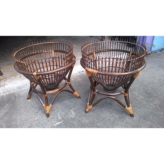 1970s 1970s Boho Chic Fish Trap Basket Tables With Glass Tops - a Pair For Sale - Image 5 of 5