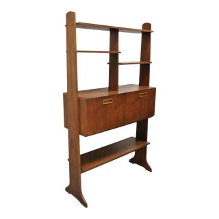 Vintage Mid Century Danish Modern Teak Wall Unit Desk Bookcase Display Cabinet For Sale