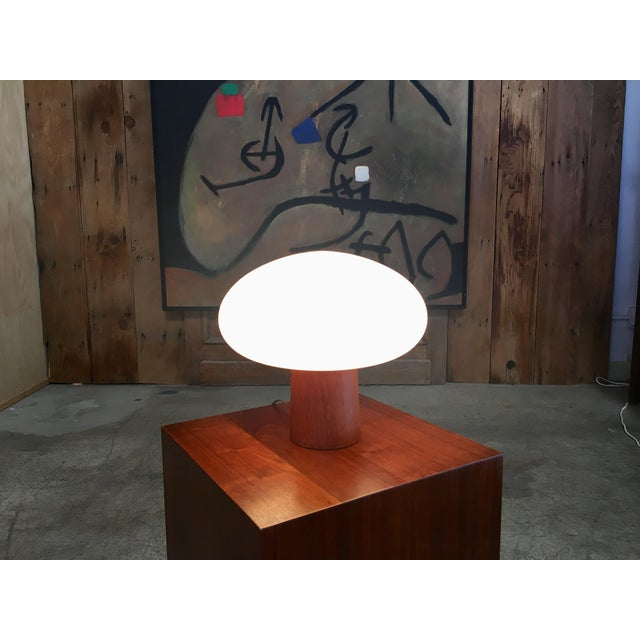 Laurel Lamp Company Mid-Century Modern Mushroom Lamp Frosted Glass With Teak Base For Sale - Image 4 of 6