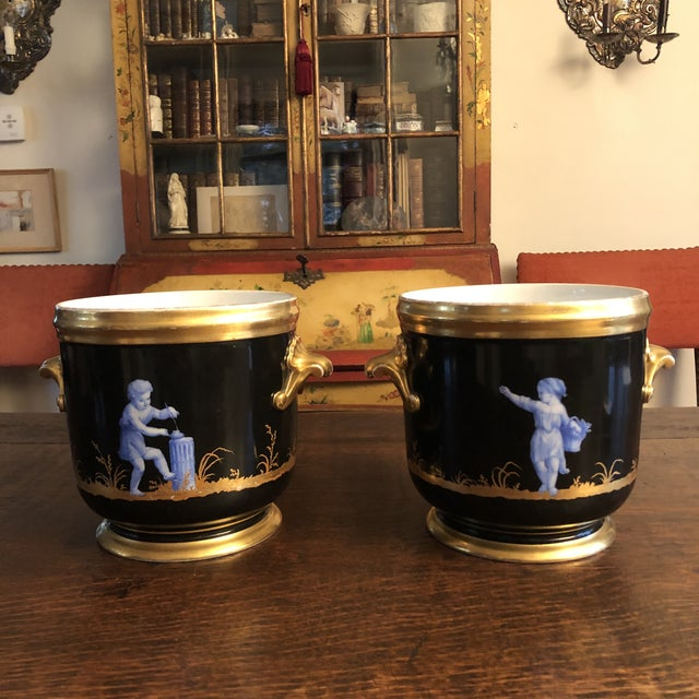 French Antique French Gilt Soft Paste Two Handled Seaux a Bouteille or Wine Buckets - a Pair For Sale - Image 3 of 13