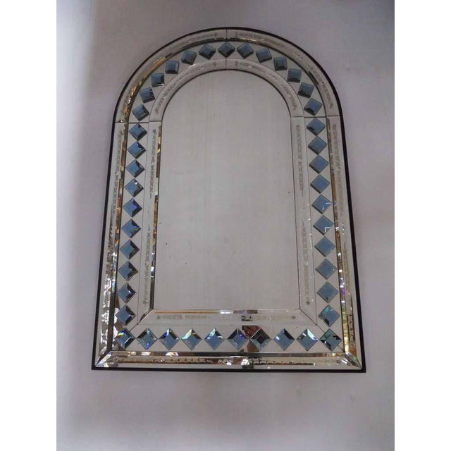 Vintage Mid-Century Italian arch shaped mirror, with blue diamond shaped glass decorations. / Made in Italy in the 1970's....