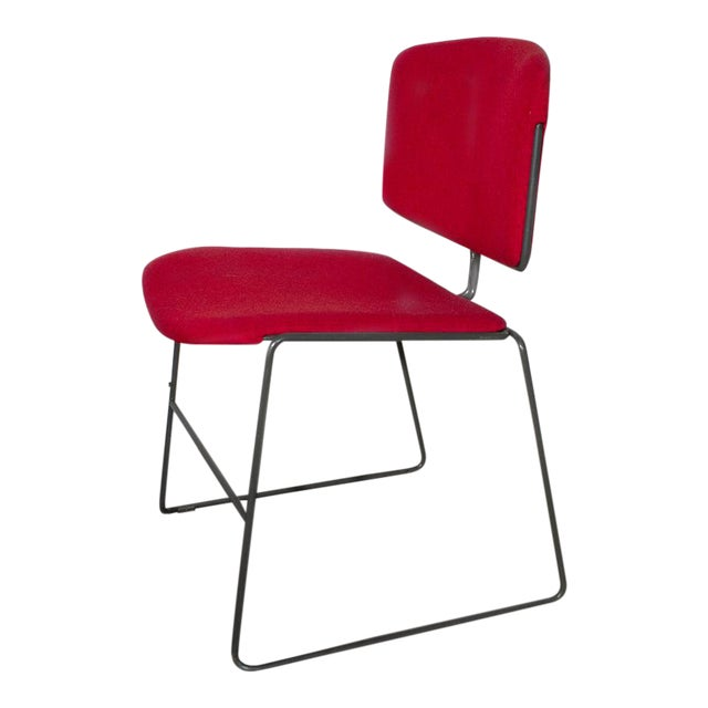 Vintage Steelcase Modern Stackable Chair, Refinished in Red Micro Linen For Sale