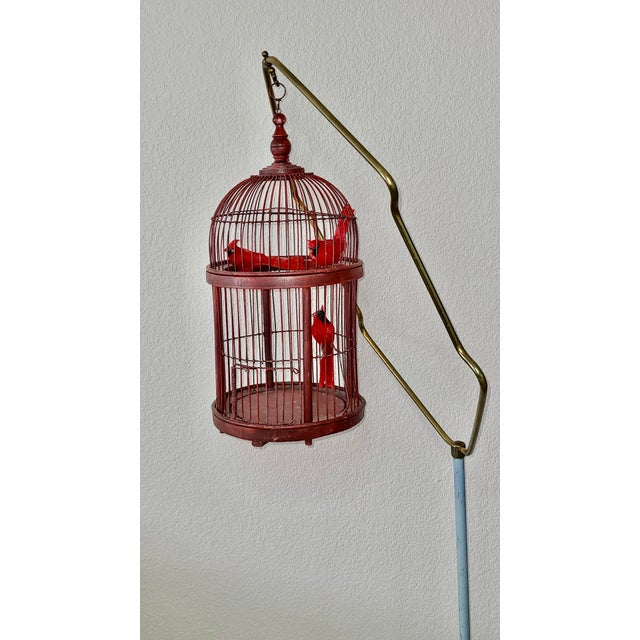 Art Deco Antique Art Deco Brass Painted Blue Bird Cage Stand Holder With Red Wood & Metal Bird Cage For Sale - Image 3 of 12