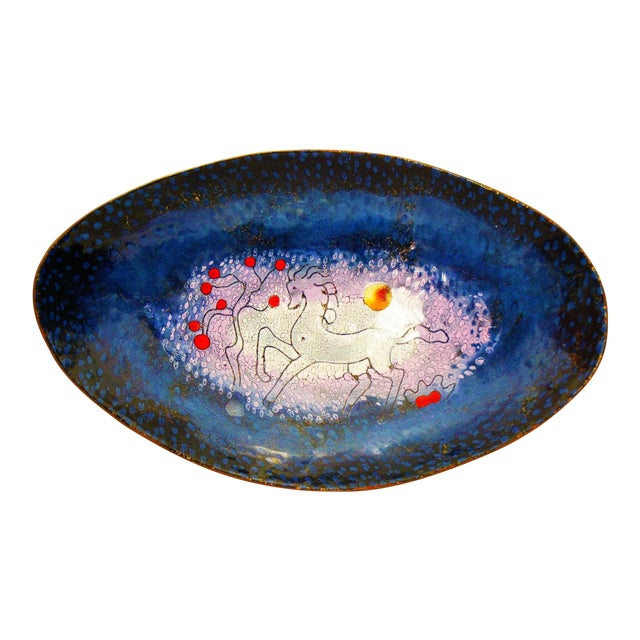 Mid-Century Modern Enamel & Copper Dish by Lopez Rodezno - Image 1 of 11