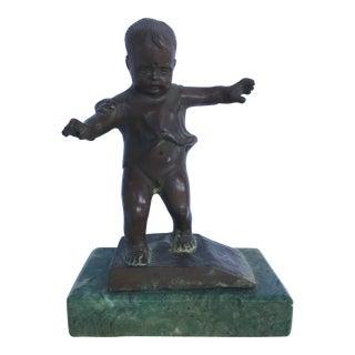 Bronze Child on Stone Base