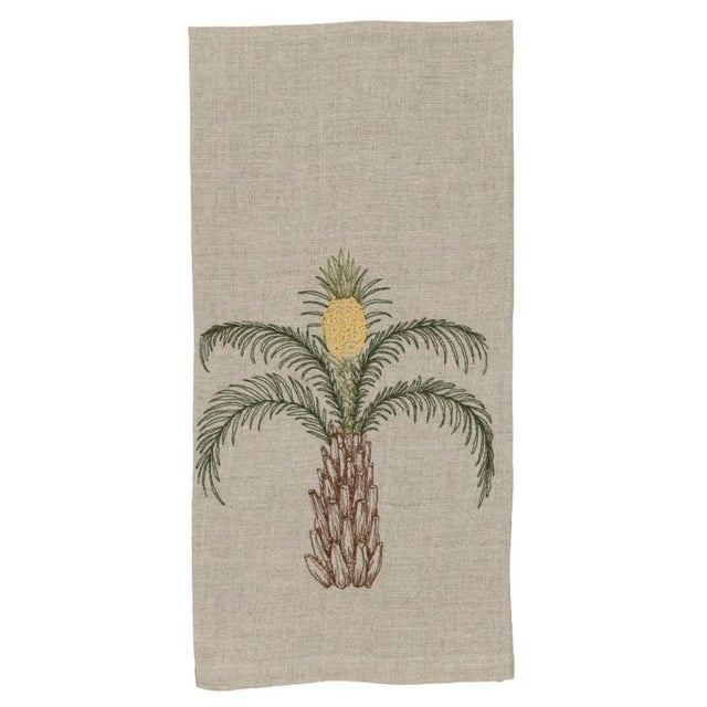 2010s 2010s French Ecru Linen Pineapple Palm Tree Tea Towel For Sale - Image 5 of 5