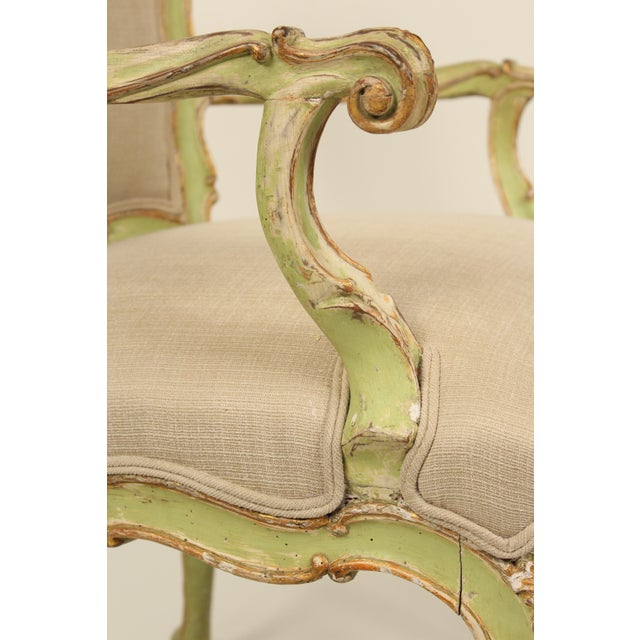 Late 19th Century Antique Louis XV Style Painted Armchairs- A Pair For Sale - Image 10 of 13