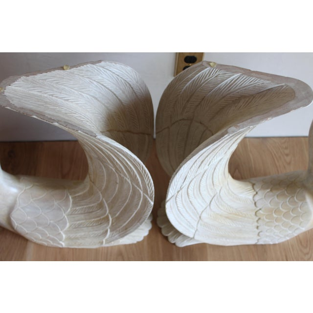 Mid 20th Century Vintage Hand Carved Solid Wood Twin Swan Console Table or End Table/Bar Table Bases - a Pair For Sale - Image 5 of 10