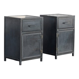 Pair of Custom Industrial Steel Nightstand Lowboy Cabinets, Made to Order For Sale