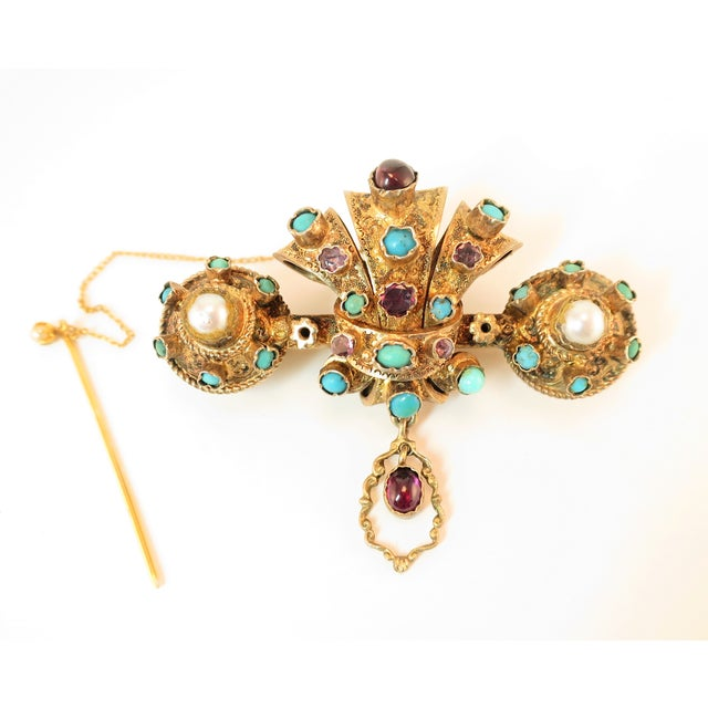 Georgian Baroque Brooch 10k Gold Amethyst Turquoise Pearls Circa 1840 For Sale - Image 12 of 12