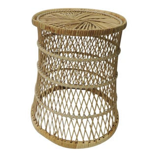 Vintage Small Round Rattan Side Table
