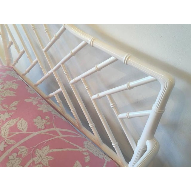 White Chinese Chippendale Faux Bamboo Lacquered Pink Cushion Arm Bench For Sale - Image 8 of 12