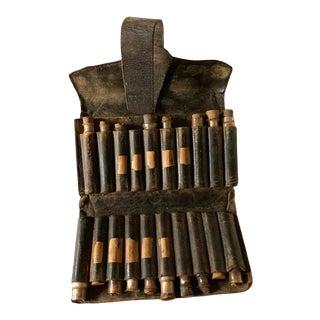 Civil War Portable Medical Kit, Antique Leather & Glass Bottles For Sale