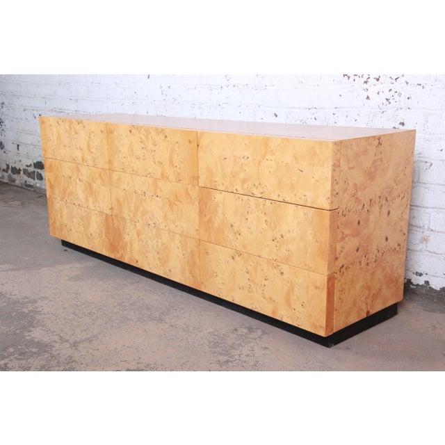 Milo Baughman Burled Olive Wood Long Dresser or Credenza For Sale - Image 12 of 12