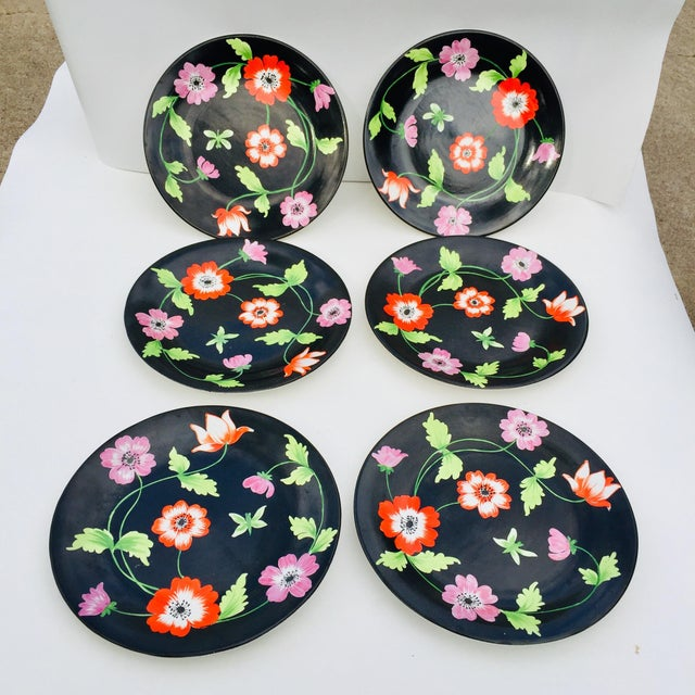 Vintage Italian Hand-Painted Porcelain Plates - Set of 6 For Sale - Image 4 of 7
