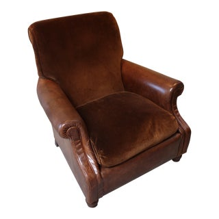 Comfy Coffee Brown Leather and Velvet Club Chair (1980s, Traditional) For Sale