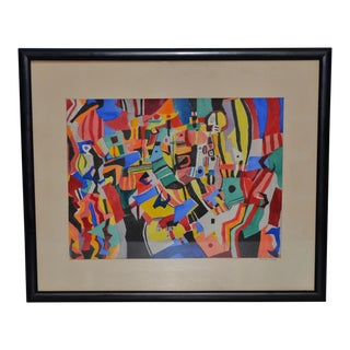 """Everett Charles Boyd """"Mardi Gras"""" Original Abstract Watercolor For Sale"""
