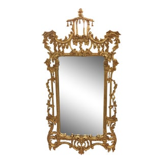 Mid Century Italian Carved Wood Gold Mirror With Pagoda Bells For Sale