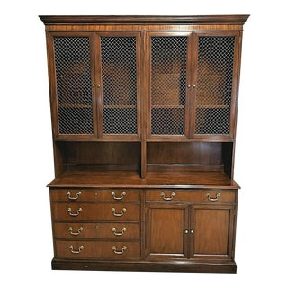 Baker Collectors Edition Solid Mahogany China Cabinet 2 Piece Breakfront For Sale