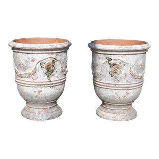 Pair of Antiqued White and Gray Fleur De Lys Anduze Pots From France For Sale