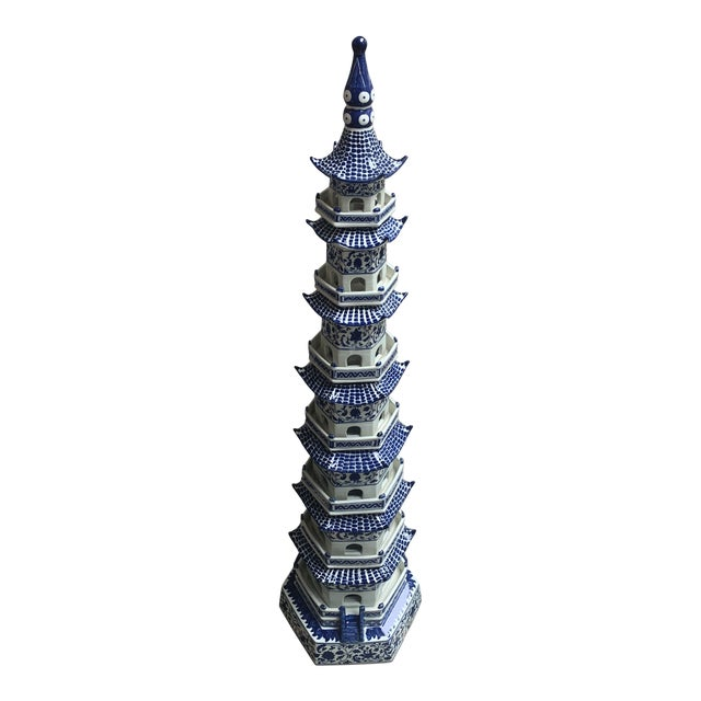 Chinese Pagoda Ceramic Statue For Sale