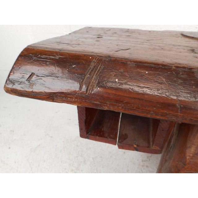Wood Mid-Century Modern Live Edge Cobbler Bench For Sale - Image 7 of 7