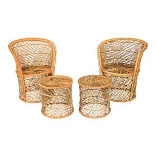 Petite Boho Style Wicker Chairs & Tables For Sale
