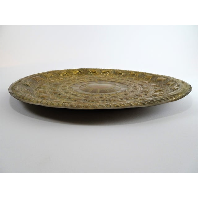 Vintage Tribal Boho Brass Decorative Tray For Sale - Image 9 of 13