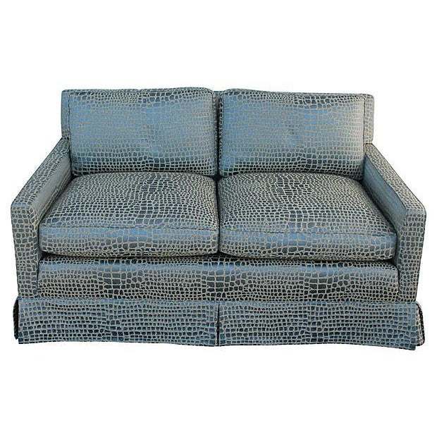 Faux Crocodile Sofa & Club Chair - Image 2 of 7