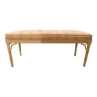 1970s Vintage Chinoiserie Bamboo Style Upholstered Bench For Sale