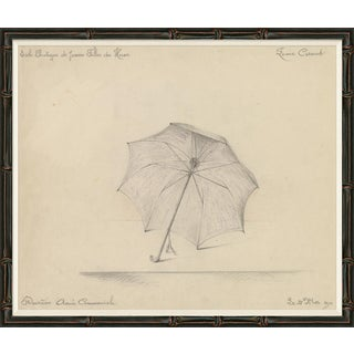 Black & White Umbrella Sketch Art Print For Sale