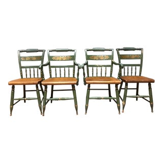 Antique Green Hitchcock Chairs - Set of 4