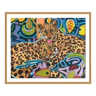 Jaguars by Jelly Chen in Gold Framed Paper, Small Art Print For Sale