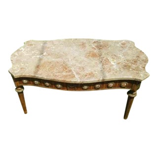 1960s Traditional Marble Top Side Table For Sale