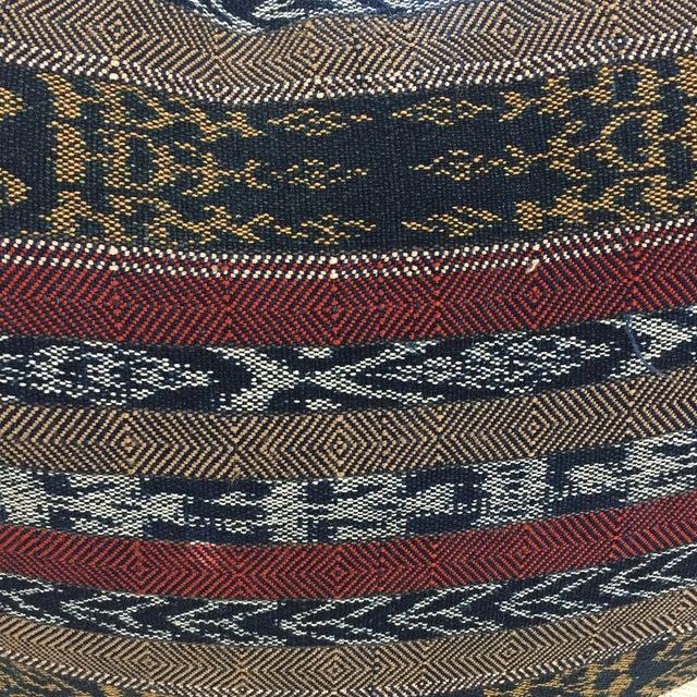 Vintage Indigo Cranberry Ikat Stripe Pillow - Image 3 of 6