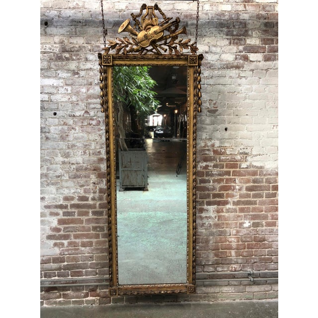 French Rare Pier Mirror, Louis XVI , 18th Century For Sale - Image 3 of 11