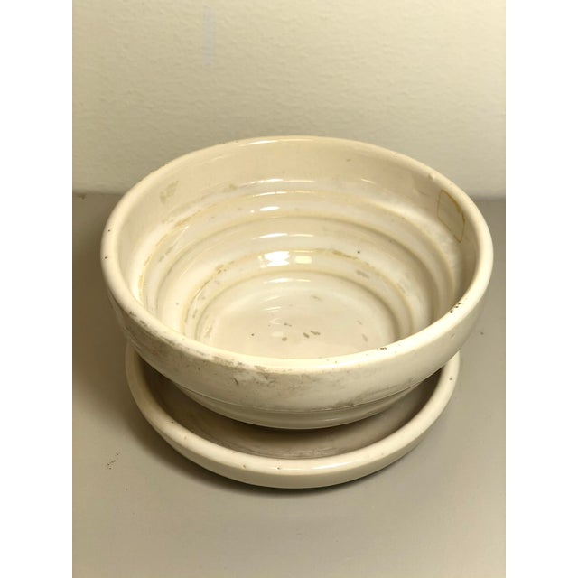 "McCoy Pottery 1940s - 1960s ""Cream"" Mid Century Flowerpot And Attached Saucer, Violet Flower Design, Medium, Cream glaze..."