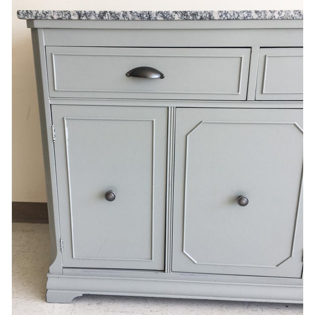 Cottage Grey Painted Server With Granite Top For Sale - Image 3 of 11
